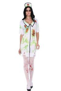 Biohazard Zombie Bloody Nurse Splattered Horror Scary Halloween Party Costume