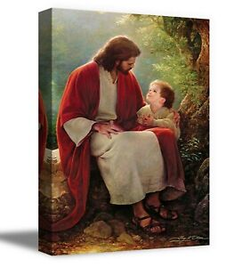 Christian Wall Art Home Workplace Décor Jesus and Little Boy Canvas