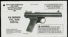 Benjamin Sheridan E9 Series CO2 Air Gun Pellet Pistol Rare Orig Owner's Manual