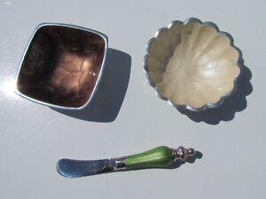 Julia Knight 3 piece cast aluminum enamel bowls spreader zucchini brown green