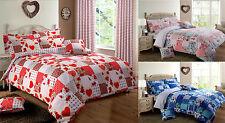 Vintage Shabby Chic Floral New Patchwork Duvet Cover Bedding Set Pink Blue Red