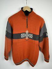 GJESTAL EXCLUSIVE Men SMALL 100% Norwegian Wool Half Zip Chunky Sweater 21509_JS