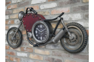 Motorbike Clock, Wall Feature Metal Frame and Detailing