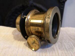 Antique Brass plate Camera Lens Vintage
