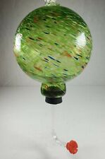 New listing Blown Art Glass Ball Humming Bird Feeder, Green Globe with Red, Yellow and Blue