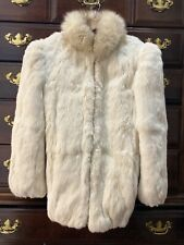Vintage Niki White Rabbit Fur Coat w/ Fox Tail Collar Girls Size 12