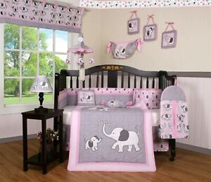 11PCS Pink Gray Elephant Baby Nursery Crib Bedding Sets  Holiday Special