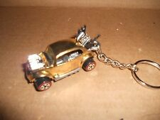 1960's VOLKSWAGEN VW BEETLE BUG DIECAST MODEL TOY CAR KEYCHAIN NEW GOLD CHROME