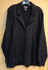 Style & Co. Black Glittery 3X Cardigan Sweater Cotton Blend Long Sleeve Collared