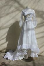vintage 1970s Boho wedding dress Lace Ivory Puff Sleeves Maxi Dress Victorian S