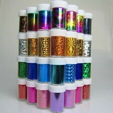 100 x Nail Art Wrap Foil Transfer Glitter Sticker Polish Decal Decoration UK