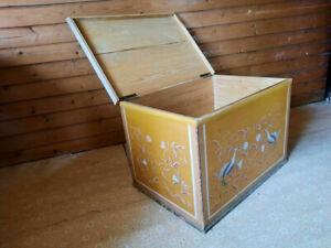 1948 große antike Truhe Holztruhe Wäschetruhe bemalt Aussteuertruhe Kiste antik
