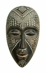 African Style Ornate Carved Wall Hanging Tribal Mask 23 cm