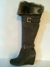 Michael Michael Kors Lara Womens Grey Suede/leather Knee/Over Knee Boots 5.5 M