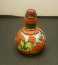 Chinese Exquisite Hand-carved fish lotus carving Glass snuff bottle