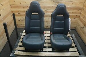 Set of 2 Front Left Right Seat Black w/Red Stitch Corvette C7 Z06 2016-19 *NOTE