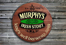 Traditional Murphy's Irish Stout Barrel End Style Wooden Pub Sign ☘ Hand Made