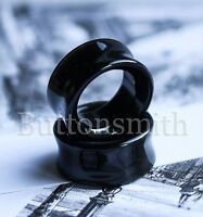 Pair of TUNNEL Black Obsidian Plugs Gauges 6mm 8mm  10mm 11mm  - 25mm - 10 sizes