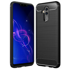 SDTEK Carbon Fibre TPU Case Silicone Phone Cover for Huawei Mate 20 Lite