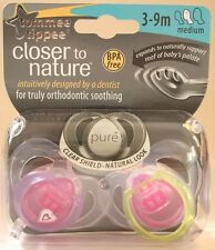 Tommee Tippee Closer to Nature Pure 2-pack 3-9m Pink Design Soothers - 43320265