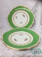 Pair of Vintage DAVENPORT  Porcelain Plates green Border / Floral Decoration VGC