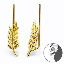 Sterling Silver 925 Leaf / Branch Pierced Ear Gold Cuff Earrings