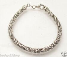 "7.50"" Italian Round Mesh Woven Ball Chain Bracelet Platinum Clad Sterling Silver"