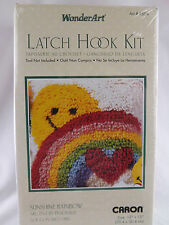 """New listing Wonder Art Sunshine Rainbow Latch Hook Kit 12"""" x 12"""" New Sealed Caron"""