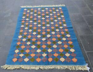 Cappadocia Handmade Blue Kilim Area Rug Anatolian Vintage Turkish Carpet 4x6 ft