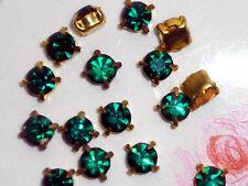 Vintage Emerald Rhinestones Prong Pronged Setting Lot Square NOS 6mm Rare #236