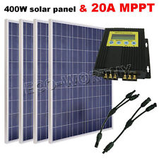 400W Bundle KIT: 4x100W PV Solar Panel with 20A MPPT solar system RV 24V Battery