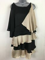 BNWT WOMENS LIMITED EDITIONS BLACK CHAMPAGNE SATIN LAYERED FRILLY DRESS UK 12