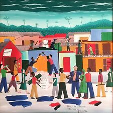 """""""Liberation et Dechoucage"""" by J.V. Hector - 1986 - Haitian Art - 24 in x 24 in"""