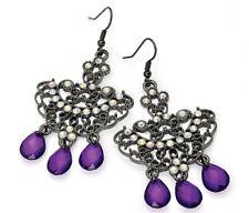 Purple Dangle drop Jewelled Earrings