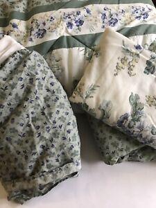 Laura Ashley Twin Comforter Set Floral Green Reversible Garden Blue Bedskirt