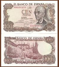 Spain P152a, 100 Pesetas, Composer de Falla /Home of Moorish kings  $15 CV UNC