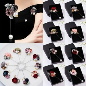 Women Cloth Rose Flower Pearl Pin Brooch Shawl Charm Wedding Party Jewelry Gift