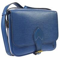 AUTH LOUIS VUITTON CARTOUCHIERE CROSS BODY SHOULDER BAG BLUE EPI M52245 A43434