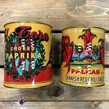 Temerity Jones Retro Vintage Style Set 2 Chilli Pepper Utensil Storage Tin Cans