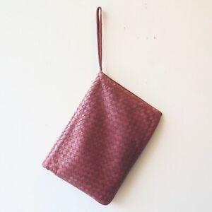 Bottega Veneta Dark Rose Pink Soft Woven Leather Flap Closure Purse 0709EH