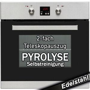 Einbau Backofen Pyrolyse 60cm Elektro Herd Heissluft Grill autark Edelstahl NEU