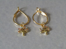 Cubic Zirconia Tree of Life Leaver Back Hoop Gold Plated Earrings - Stunning!