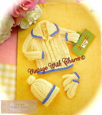 Vintage Knitting Pattern Baby's Jacket, Bobble Hat & Mittens. Jacket In 4 Sizes