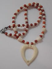 "Carved White Coral Fish Heart Pendant Tulip Flower Red Beads 20"" Necklace 7e 35"