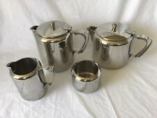 Vintage Retro Five Piece Stainless Steel Tea and Coffee Set on Tray Old Hall