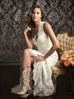 Sexy White Ivory V Neck Lace Mermaid Wedding Dress Bridal Gown Formal Party Prom