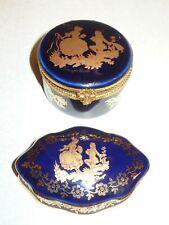 24 22 Kt Gold Limoges Castel Dark Blue Trinket Box Boxes France Courting Couple