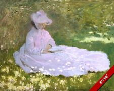 CLAUDE MONET WOMAN IN DRESS UNDER TREE IN SPRING OIL PAINTING ART REAL CANVAS
