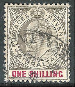 Gibraltar 1903 black/carmine 1/- very fine used SG51