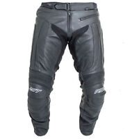NEW RST R-16 Black Leather Motorcycle Motorbike Sports Trousers | All Sizes